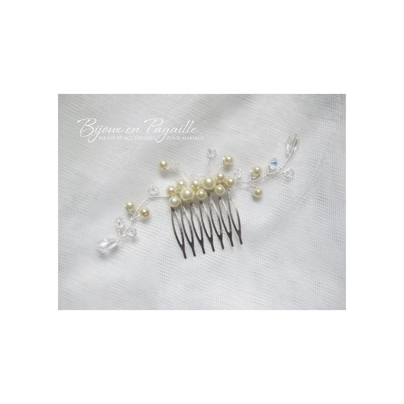 peigne perles nacres et cristal peigne mariage peigne. Black Bedroom Furniture Sets. Home Design Ideas