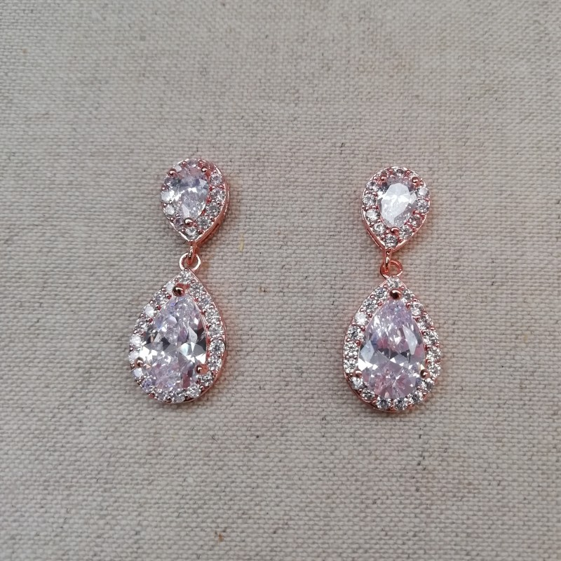 Boucles d'oreilles zircon rose gold mariage