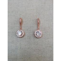 Boucles d'oreilles mariée rose doré