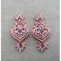 Boucles d'oreilles zircon - rose gold  Boucles d'oreilles mariage rose gold zircon