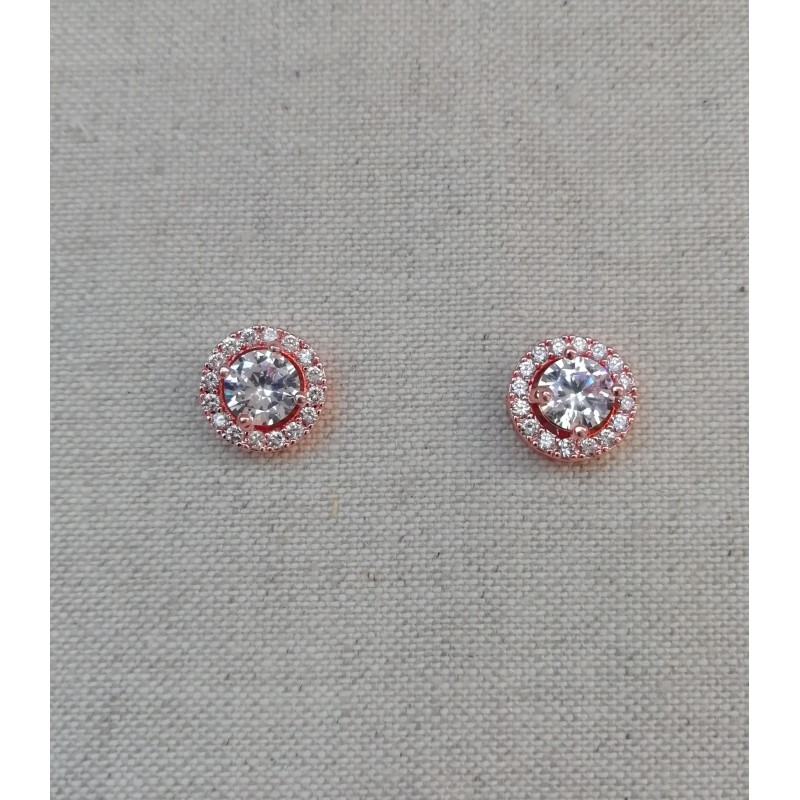 Boucles d'oreilles puces oreilles mariée rose doré
