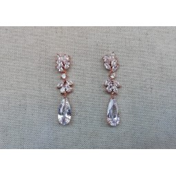 Boucles d'oreilles mariage , rose gold , zircon
