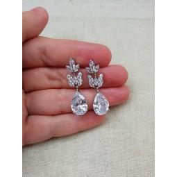 Boucles d'oreilles mariée argenté , boucles d'oreilles mariage strass , mariage zircon