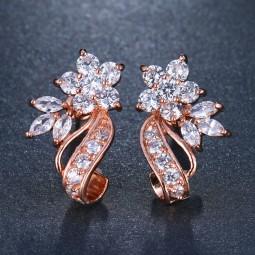 Boucles d'oreilles mariage rose gold zircon