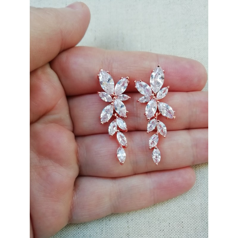 Boucles d'oreilles zircon mariage rose gold