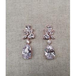Boucles d'oreilles zircon mariage - rose gold