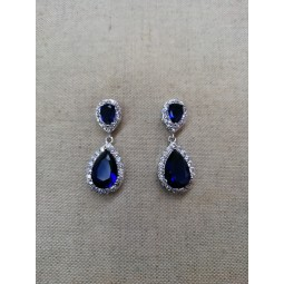 boucles d'oreilles zircon crystal swarovski bleu argent