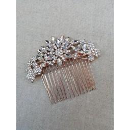 Peigne mariage rose gold - zircon strass - peigne mariée