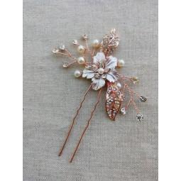 Pic cheveux chignon mariage rose gold - zircon strass - accessoire cheveux mariée